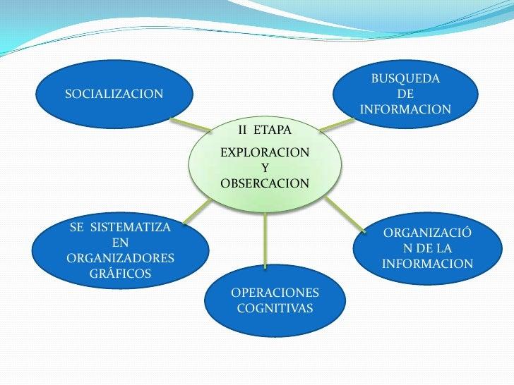 BUSQUEDA  DE INFORMACION<br />SOCIALIZACION<br />II  ETAPA<br />EXPLORACION <br />Y OBSERCACION<br />ORGANIZACIÓN DE LA IN...