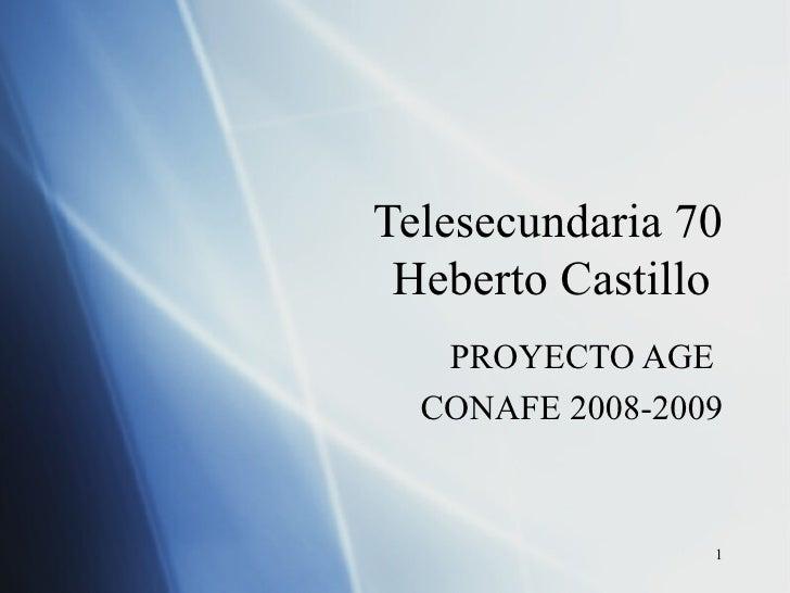 Telesecundaria 70 Heberto Castillo  PROYECTO AGE  CONAFE 2008-2009