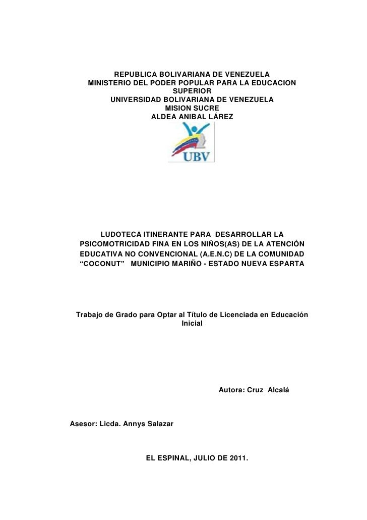 REPUBLICA BOLIVARIANA DE VENEZUELA    MINISTERIO DEL PODER POPULAR PARA LA EDUCACION                        SUPERIOR      ...