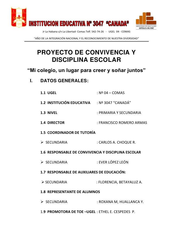 """Jr La Habana s/n La Libertad- Comas Telf. 542-74-26 - UGEL 04 - COMAS      """"AÑO DE LA INTEGRACIÓN NACIONAL Y EL RECONOCIMI..."""