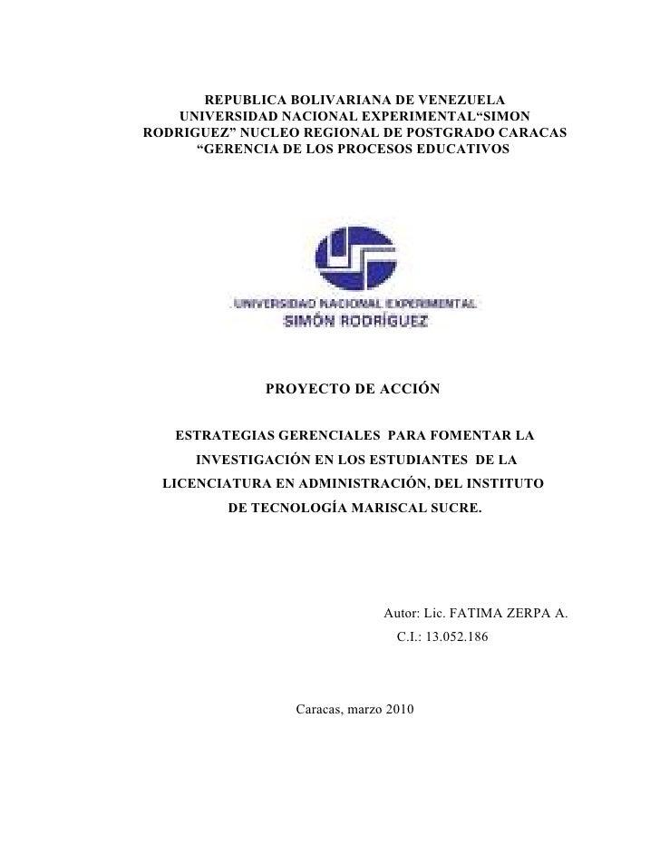 """REPUBLICA BOLIVARIANA DE VENEZUELA     UNIVERSIDAD NACIONAL EXPERIMENTAL""""SIMON RODRIGUEZ"""" NUCLEO REGIONAL DE POSTGRADO CAR..."""