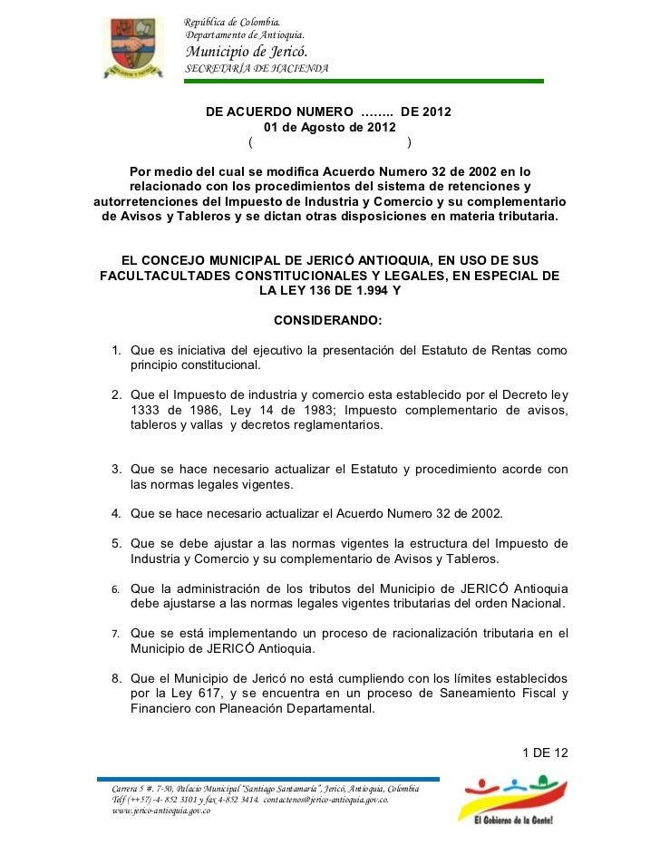 República de Colombia.                      Departamento de Antioquia.                      Municipio de Jericó.          ...
