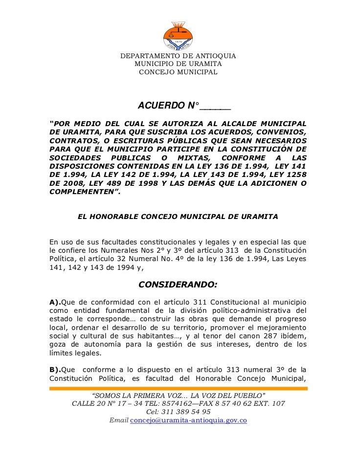 DEPARTAMENTO DE ANTIOQUIA                       MUNICIPIO DE URAMITA                        CONCEJO MUNICIPAL             ...