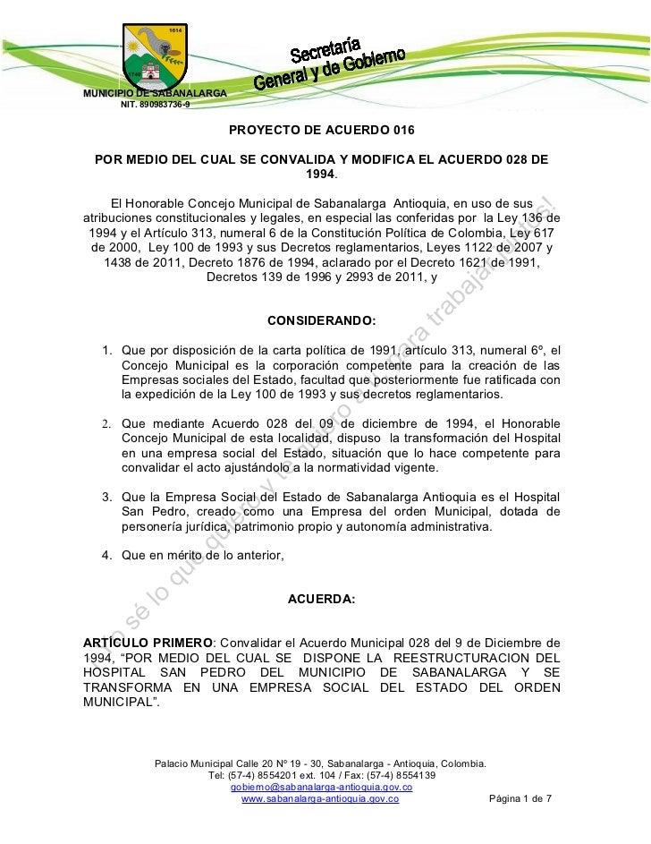 MUNICIPIO DE SABANALARGA                                                              Código: 3.0      NIT. 890983736-9   ...
