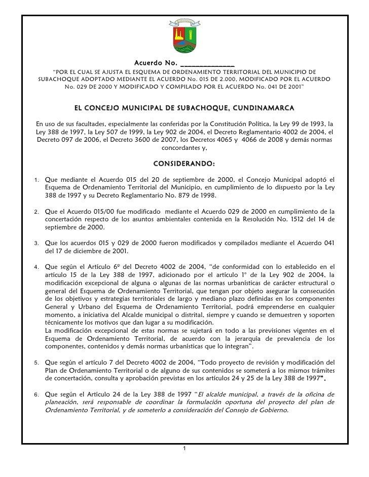 """Acuerdo No. ______________     """"POR EL CUAL SE AJUSTA EL ESQUEMA DE ORDENAMIENTO TERRITORIAL DEL MUNICIPIO DE SUBACHOQUE A..."""