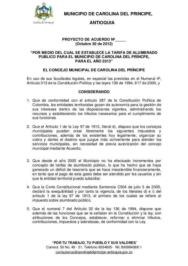 MUNICIPIO DE CAROLINA DEL PRINCIPE,                                     ANTIOQUIA                     PROYECTO DE ACUERDO ...