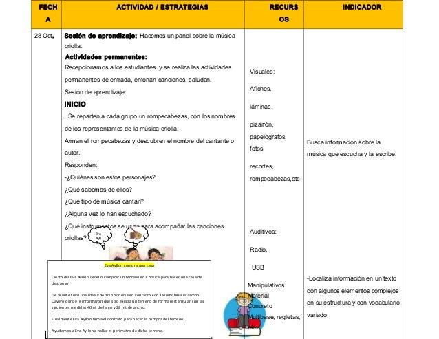 Proyecto de aprendizaje. dia de la cancion criolla 2O14