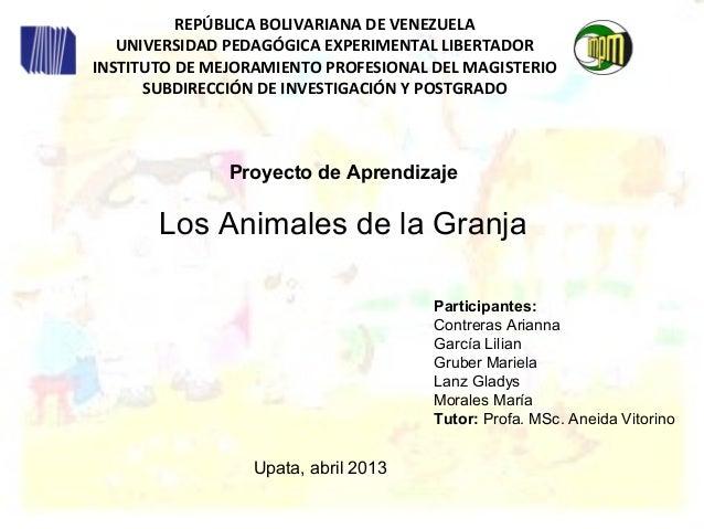 Proyecto de aprendizaje los animales