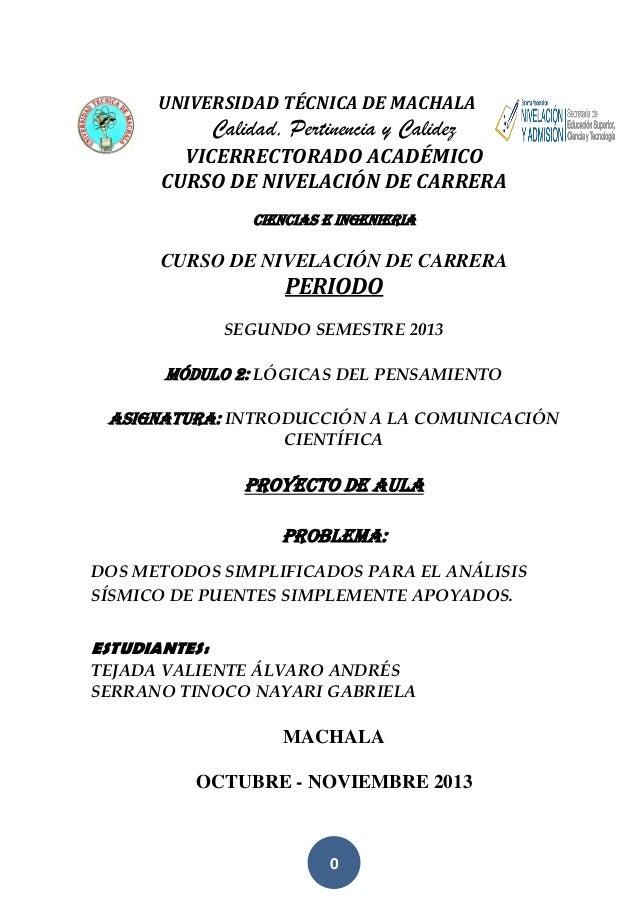 UNIVERSIDAD TÉCNICA DE MACHALA  Calidad, Pertinencia y Calidez VICERRECTORADO ACADÉMICO CURSO DE NIVELACIÓN DE CARRERA CIE...