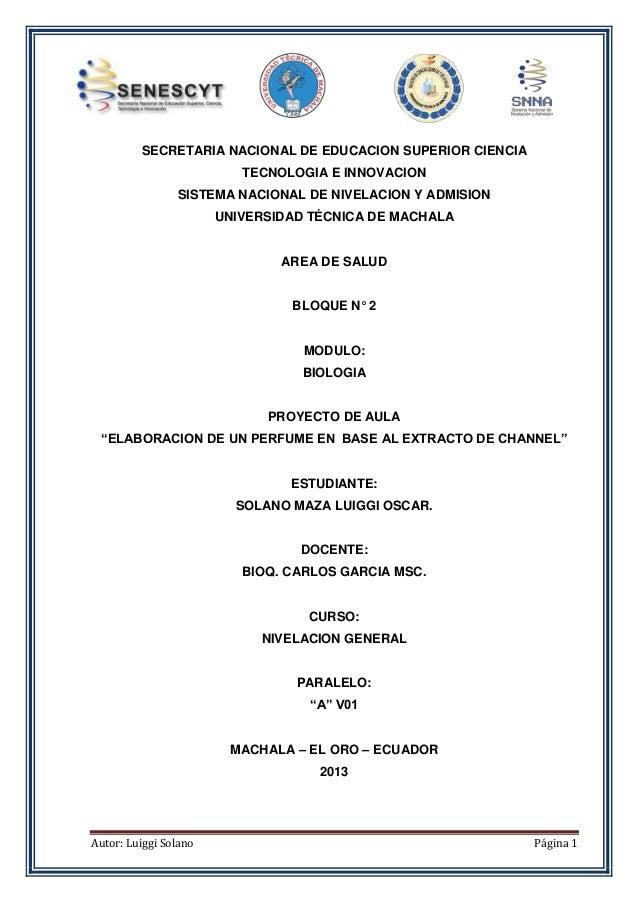 Autor: Luiggi Solano Página 1 SECRETARIA NACIONAL DE EDUCACION SUPERIOR CIENCIA TECNOLOGIA E INNOVACION SISTEMA NACIONAL D...