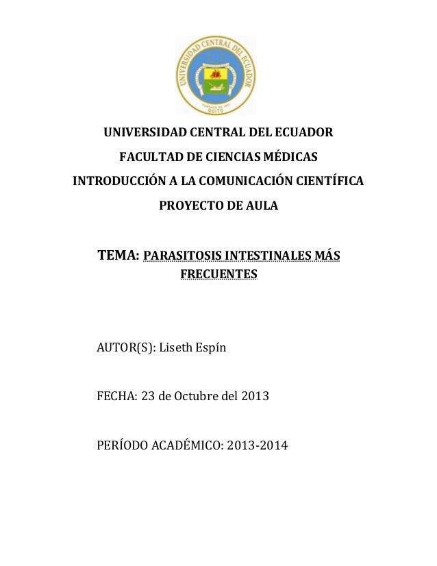 Parasitosis Intestinales Proyecto de Aula ICC 2013