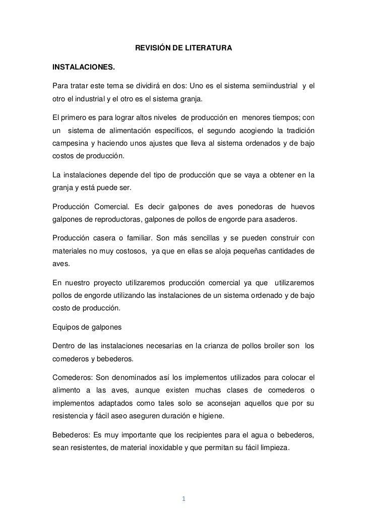 REVISIÓN DE LITERATURA<br />INSTALACIONES.<br />Para tratar este tema se dividirá en dos: Uno es el sistema semiindustrial...