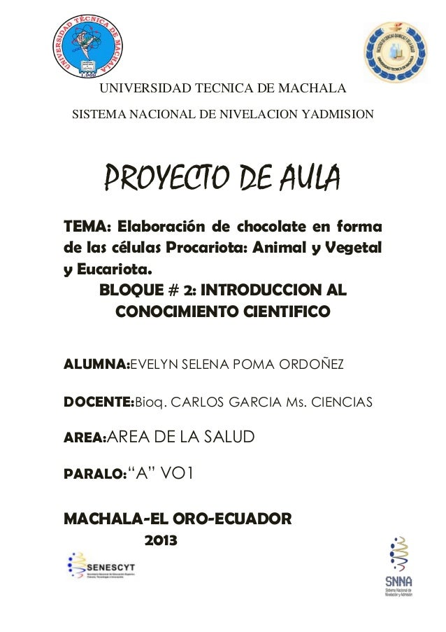 UNIVERSIDAD TECNICA DE MACHALA SISTEMA NACIONAL DE NIVELACION YADMISION PROYECTO DE AULA TEMA: Elaboración de chocolate en...