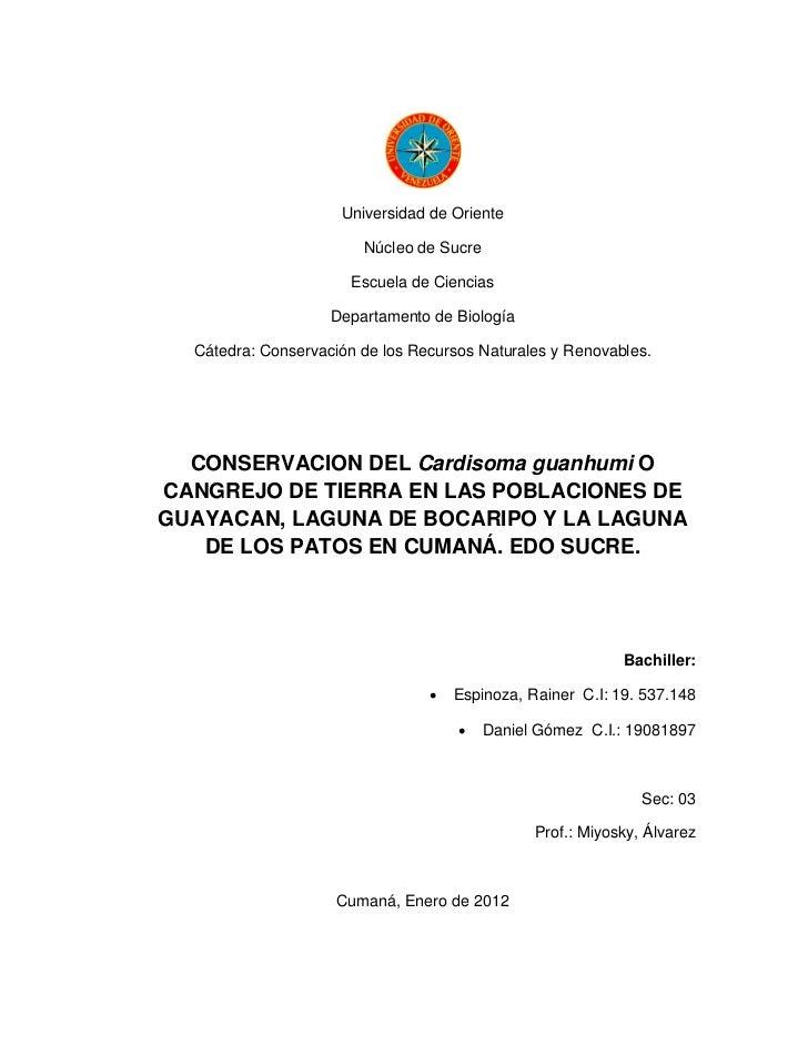 Universidad de Oriente                        Núcleo de Sucre                      Escuela de Ciencias                    ...