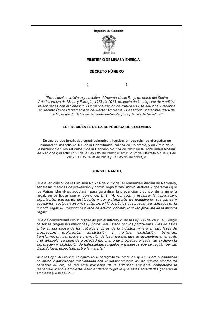"""MINISTERIO DE MINAS Y ENERGIA República de Colombia DECRETO NÚMERO ( ) """"Por el cual se adiciona y modifica el Decreto Únic..."""