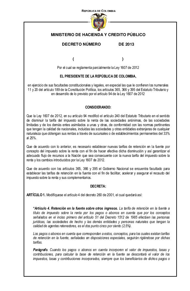 REPÚBLICA DE COLOMBIA  MINISTERIO DE HACIENDA Y CREDITO PÚBLICO DECRETO NÚMERO  (  DE 2013  )  Por el cual se reglamenta p...