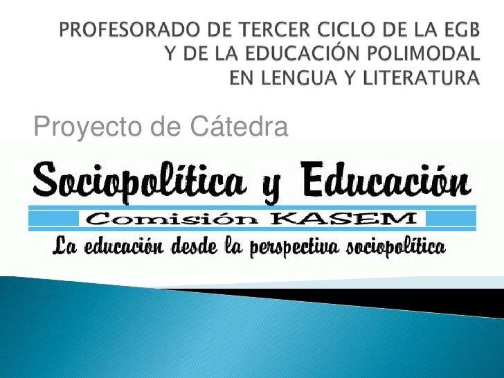 PROFESORADO DE TERCER CICLO DE LA EGB Y DE LA EDUCACIÓN POLIMODAL EN LENGUA Y LITERATURA<br />Proyecto de Cátedra<br />