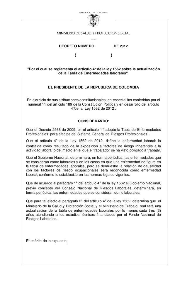 """REPUBLICA DE COLOMBIA MINISTERIO DE SALUD Y PROTECCION SOCIAL ___ DECRETO NÚMERO DE 2012 ( ) """"Por el cual se reglamenta el..."""