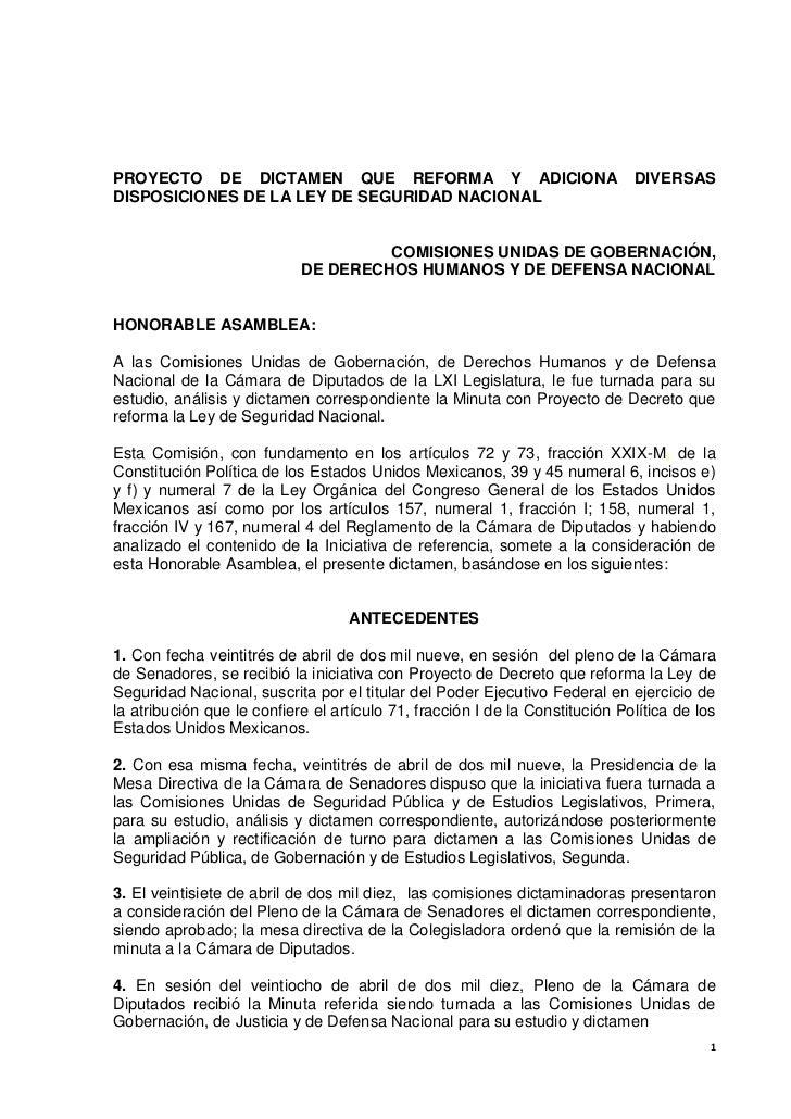 PROYECTO DE DICTAMEN QUE REFORMA Y ADICIONA                                   DIVERSASDISPOSICIONES DE LA LEY DE SEGURIDAD...