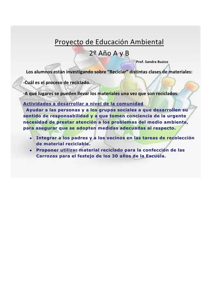 proyecto de educaci n ambiental blog