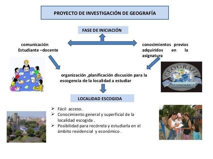 PROYECTO DE INVESTIGACIÓN DE GEOGRAFÍA                                 FASE DE INICIACIÓN comunicación                    ...