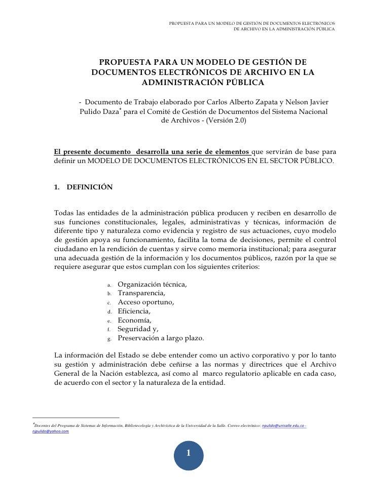 Modelo de documentos electrónicos para el sector público