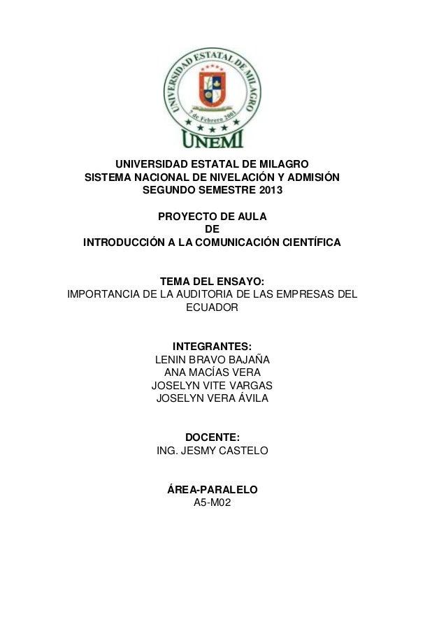 PROYECTO DE INDUCCION A LA COMUNICACION CIENTIFICA