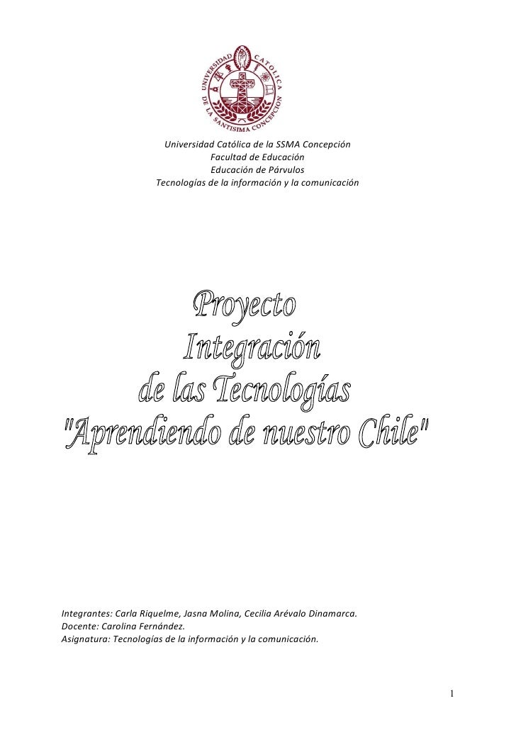 Universidad Católica de la SSMA Concepción                                   Facultad de Educación                        ...