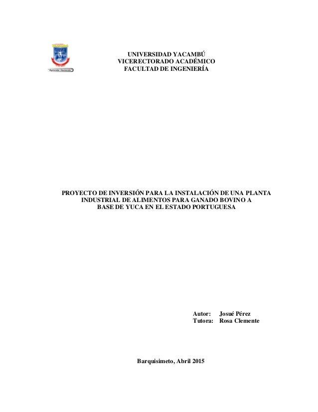 1 UNIVERSIDAD YACAMBÚ VICERECTORADO ACADÉMICO FACULTAD DE INGENIERÍA PROYECTO DE INVERSIÓN PARA LA INSTALACIÓN DE UNA PLAN...