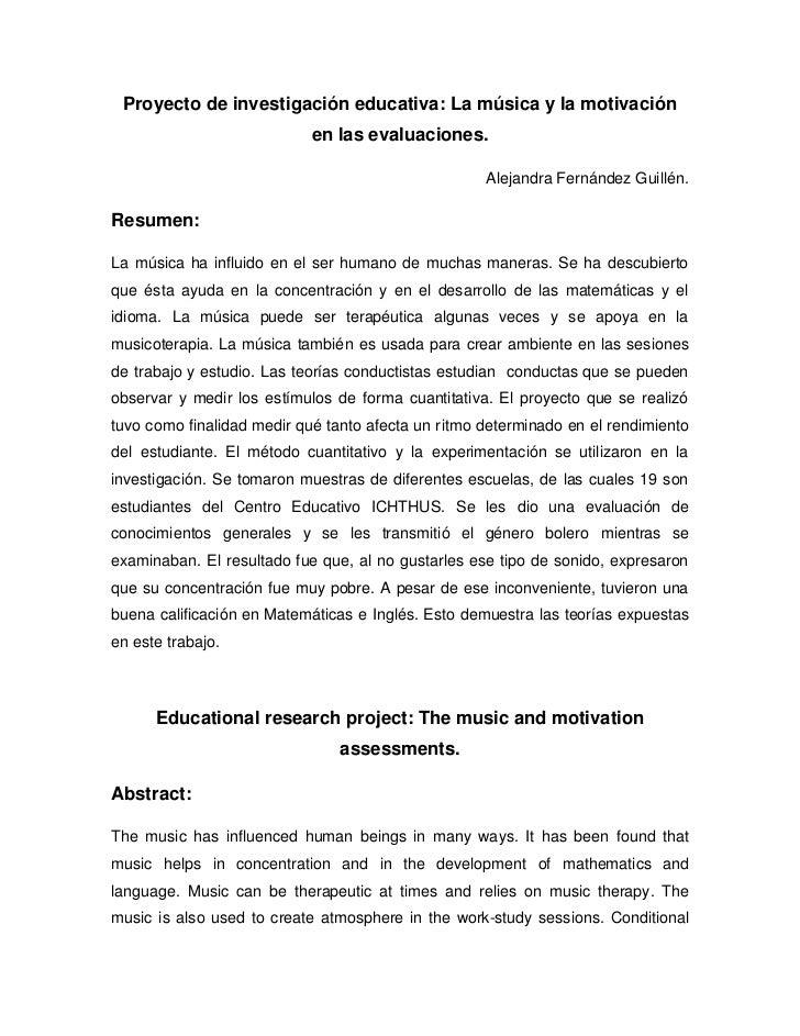 Proyecto de investigación educativa: la música y la motivación en las evaluaciones