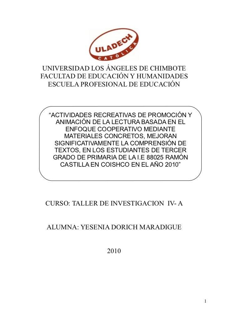 """UNIVERSIDAD LOS ÁNGELES DE CHIMBOTE FACULTAD DE EDUCACIÓN Y HUMANIDADES   ESCUELA PROFESIONAL DE EDUCACIÓN      """"ACTIVIDAD..."""