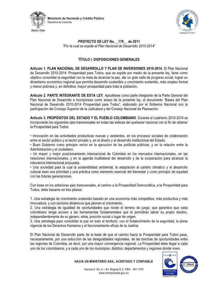 Proyecto de ley 179 de 2011 plan nacional desarrollo2010 2014 pnd