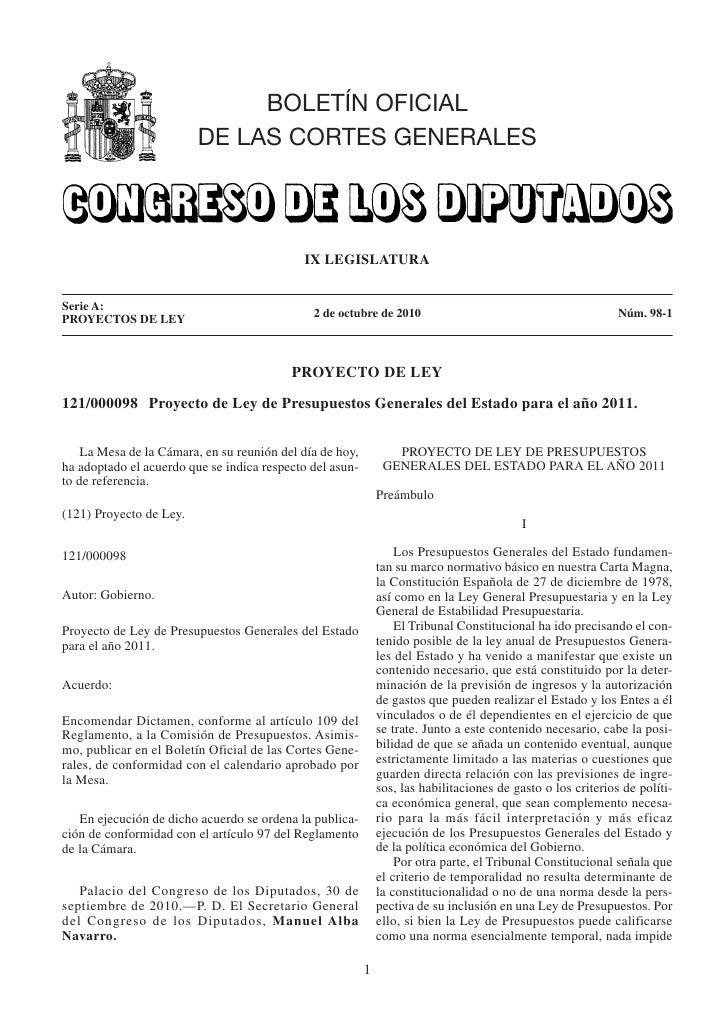 Proyecto de ley de presupuestos generales del estado para el año 2011