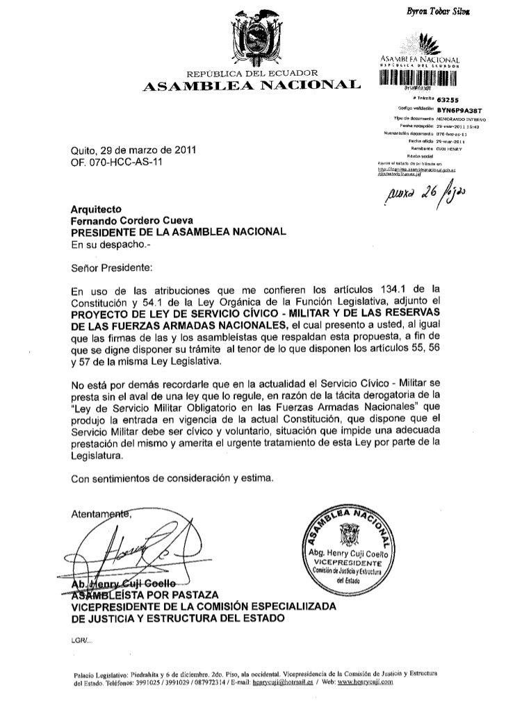 PROYECTO DE LEY DE SERVICIO CIVICIO-MILITAR Y DE LAS RESERVAS DE LAS FUERZAS ARMADAS NACIONALES.