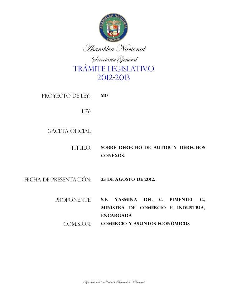 Proyecto de Ley N° 510 (Sobre Derecho de Autor y Derechos Conexos)