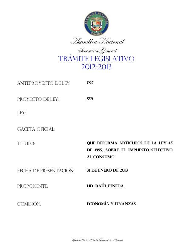 Asamblea Nacional                       Secretaría General                   TRÁMITE LEGISLATIVO                        20...