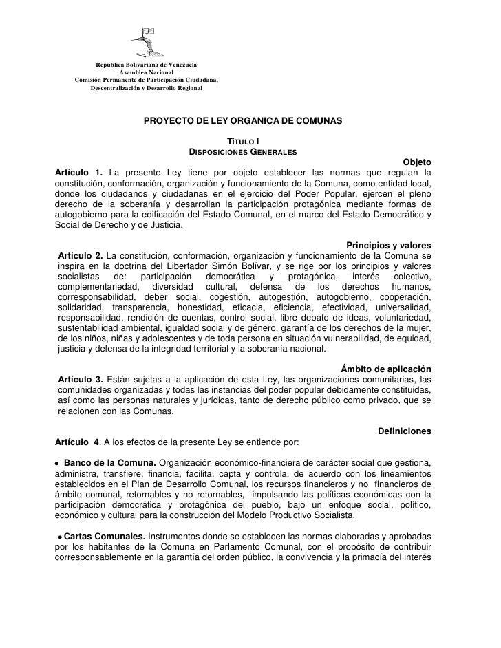Proyecto de ley organica de comunas