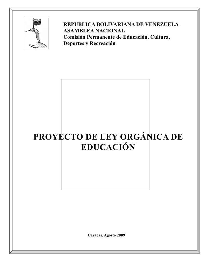 REPUBLICA BOLIVARIANA DE VENEZUELA      ASAMBLEA NACIONAL      Comisión Permanente de Educación, Cultura,      Deportes y ...