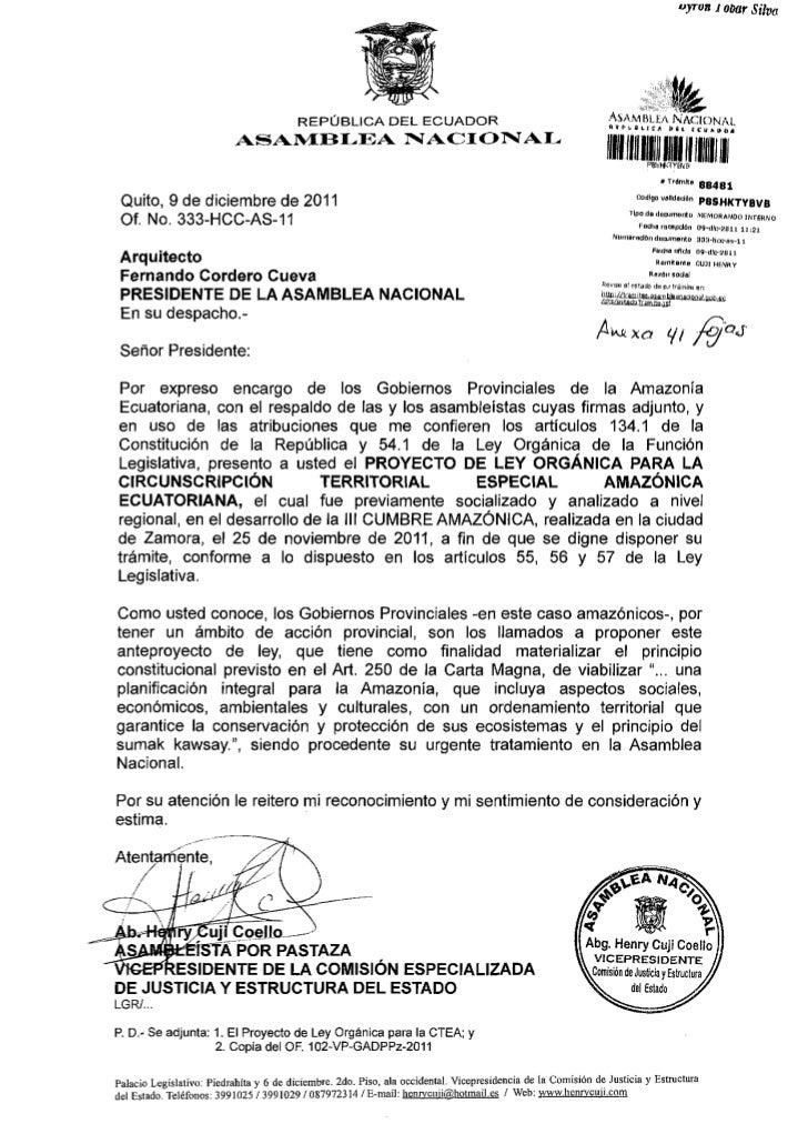 Proyecto de ley organica para la circunscripcion territorial especial amazonica ecuatoriana