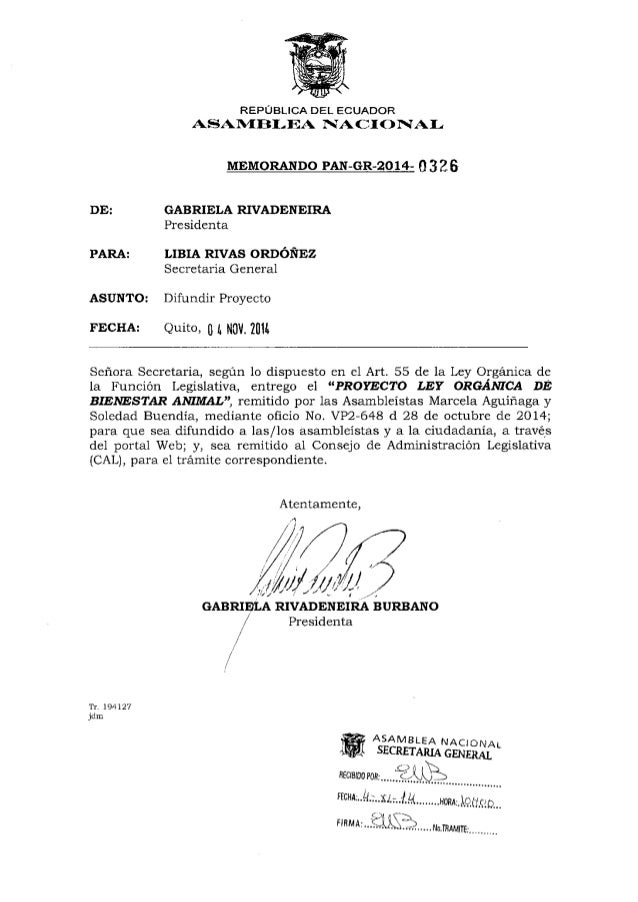 REPÚBLICA DEL ECUADOR  IVACIÓNAI;    0335  DE:  GABRIELA RIVADENEIRA Presidenta PARA:  LIBIA RIVAS ORDÓÑEZ  Secretaría Gen...