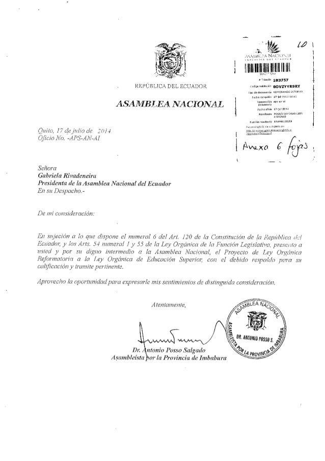 Proyecto de Ley reformatoria a la Ley Orgánica de Educacion SUperior
