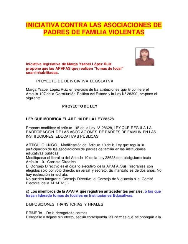 PROYECTO DE LEY PARA INHABILITAR APAFAS VIOLENTAS