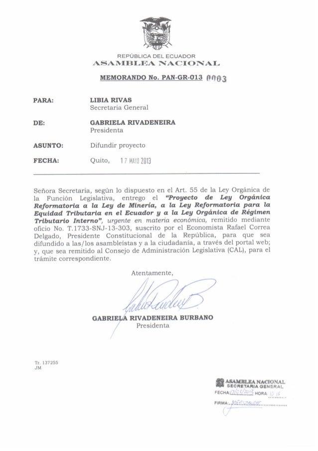 Proyecto de ley reformatoria minería, mayo 2013