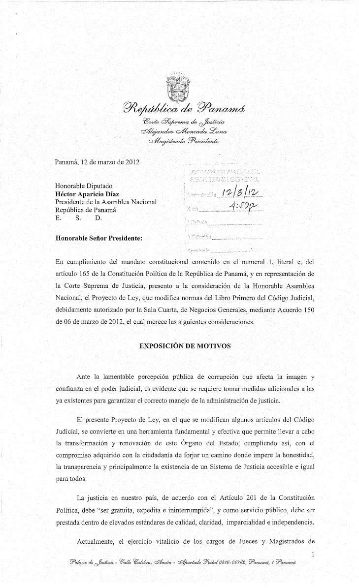 Panamá, 12 de marzo de 2012Honorable DiputadoHéctor Aparicio DíazPresidente de la Asamblea NacionalRepública de PanamáE.  ...