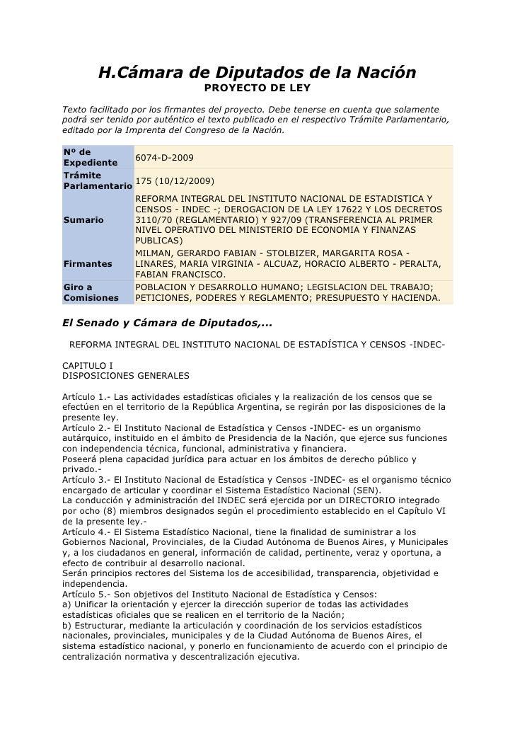 H.Cámara de Diputados de la Nación                                  PROYECTO DE LEY  Texto facilitado por los firmantes de...