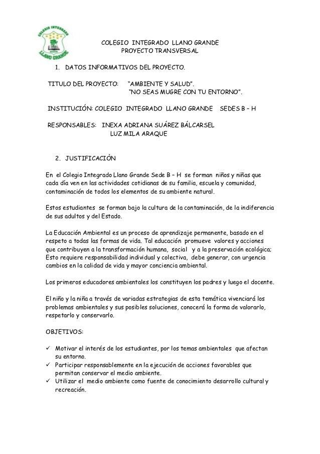 COLEGIO INTEGRADO LLANO GRANDE                         PROYECTO TRANSVERSAL   1. DATOS INFORMATIVOS DEL PROYECTO.TITULO DE...