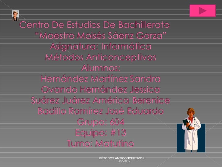 24/05/10 MÉTODOS ANTICONCEPTIVOS