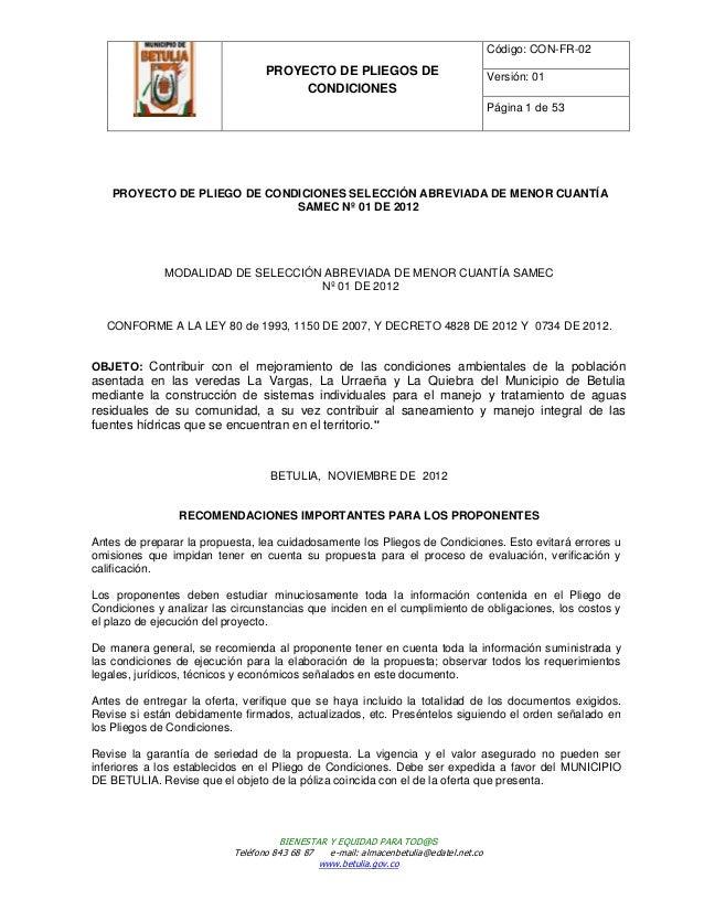 Código: CON-FR-02                                  PROYECTO DE PLIEGOS DE                               Versión: 01       ...