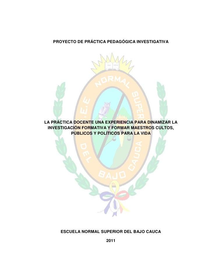 PROYECTO DE PRÁCTICA PEDAGÓGICA INVESTIGATIVALA PRÁCTICA DOCENTE UNA EXPERIENCIA PARA DINAMIZAR LA INVESTIGACIÓN FORMATIVA...