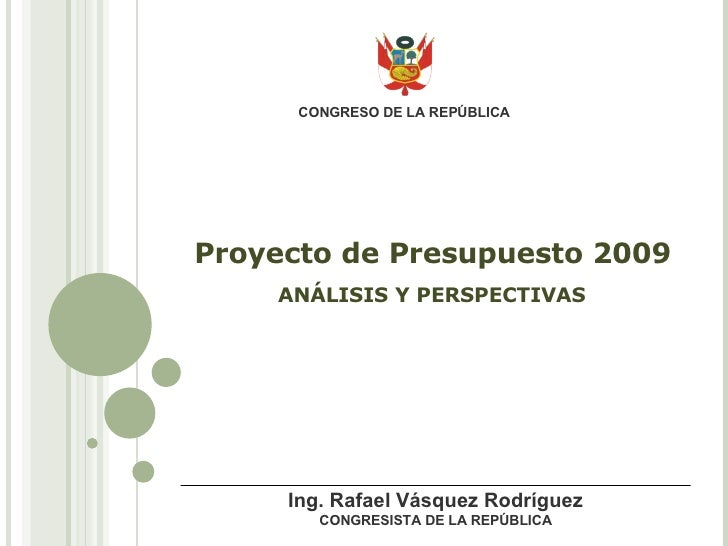 Proyecto De Presupuesto 2009